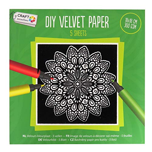 Craft Sensations DIY En velours papier - 5 feuilles de coloriage, dessins variés, 180 mm Carré, Lot Vert foncé
