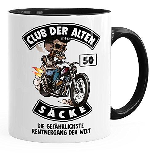 MoonWorks Kaffee-Tasse Club der Alten Säcke Geschenk-Tüte Club der Alten Säcke für Ältere Geburtstag Männer 50 schwarz Unisize