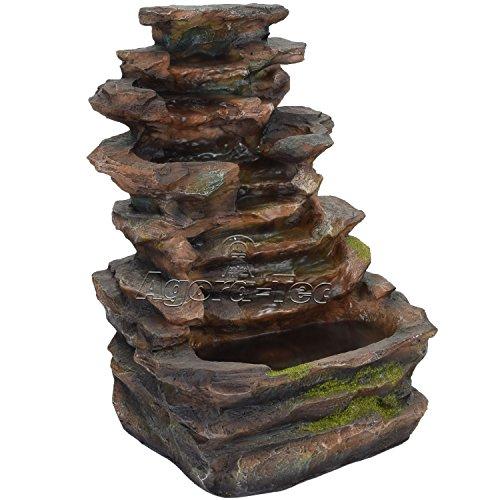 Agora-Tec® Wasserspiel & Zimmerbrunnen Slate sehr angenehmer leiser Wasserlauf 37 cm hoch