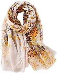 Dosige Châle Foulard été Femme Camouflage Petit imprimé léopard Coton Brut  Lin Tulle Serviette de Plage en Bord de mer écharpe Size… 698532e5500