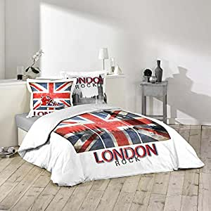 housse de couette 220 x 240 cm taies london rock. Black Bedroom Furniture Sets. Home Design Ideas