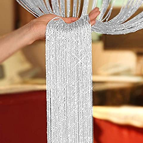 Liqy Glitter String Curtains Panel Divider Window Door Fly Screen 35IN x78.5IN (White)