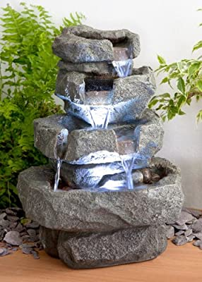 Shubunkin Spills 4 Tier Cascading Water Feature with LED Lights from Primrose