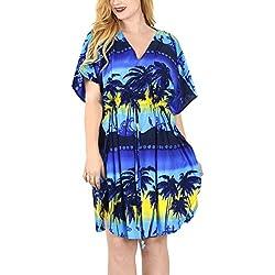 LA LEELA Mujer Kaftan Túnico Impreso Kimono Estilo Más tamaño Vestido para Loungewear Vacaciones Ropa de Dormir & Cada día Cubrir para Arriba Tops Camisolas Playa Azul Marino_E634