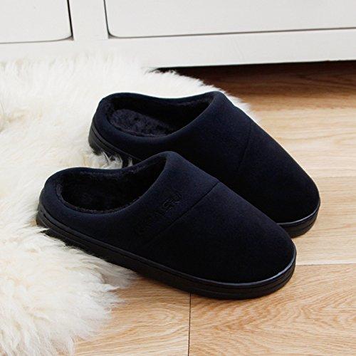DogHaccd pantofole,Soggiorno anti-slittamento pantofole caldi nessun odore e eleganti uomini e donne paio di pantofole di cotone Nero3