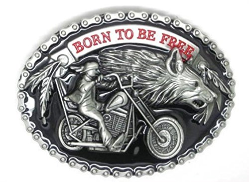Born to be Free Motorcycle Chopper Biker Wolf and Metal Rider Belt Buckle