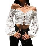 DEELIN Damen Spitze Weg Von der Schulter Beiläufige Langen Hülsen Hohlen Spitze Lose Bluse übersteigt T-Shirt Spitzenbluse (L, Weiß)