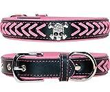 Vcalabashor Hundehalsband aus Leder,Geflochtene Hundehalsbänder aus Leder mit Diamante-Totenkopf Besetzt,Weich Gepolstertes Hundehalsband,Pink & Schwarz Extra Groß