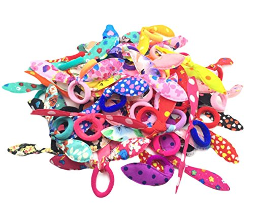 Vikenner 100 Pcs Rabbit Ear Hair Bow Tie Bands Hair Rope Elastic Ponytail Holder for Kids Toddler Baby Girls - Random Color