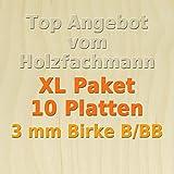 XL Paket 10 Platten 3mm Birke Sperrholzplatte Qualität B/BB (50 x 30cm) GP 21,27 €/m²