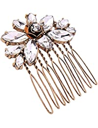 Young & Forever Wardrobe Refresh Fashion Sale Special Elite Gold Plated Crystal Floral Charm Hair Comb Clip for Womens/Girls HA250