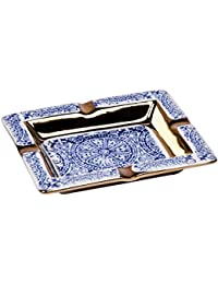 Cerámica Diseño Cenicero Paris XL oro acero Cenicero Encendedor de fumar Decoración costura, cerámica, Palais-Royal | Blau, 13,5 × 2,5 × 10,5 cm (B×H×T)