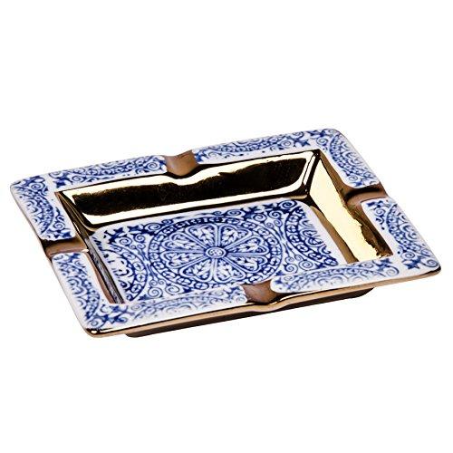 nbecher Paris XL Gold Edel Ascher Zigarette Rauchen Dekoration Muster (Palais-Royal   Blau) ()