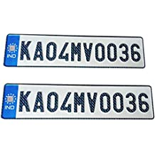 Generic Car Ind Emboss Number Plate Set - Front and Back