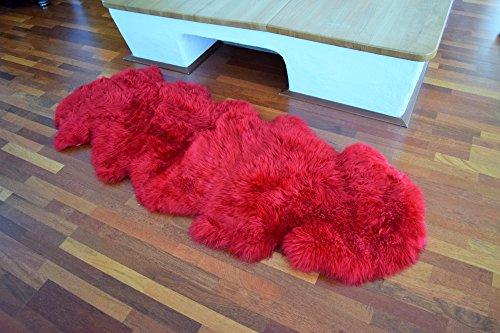 Naturasan Doppel-Schaffell Lammfell-Teppich Decke Duo (aus 2 Fellen) , Flokati, Shaggy, Designer Langflor Felldecke Fellteppich (Bordeaux / Rot)