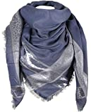 Caripe XXL Damen Schal kariert Glitzer silber Tuch quadratisch Karo Leo Halstuch oversized - animal-1 (jeansblau)