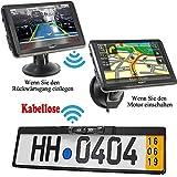 HSRpro Kabellose Funk 5' Touchscreen Navigationssystem + Autokennzeichen Rückfahrkamera Komplettset. Kamera Navigation für PKW Auto, Transporter, Wohnmobile & Bus