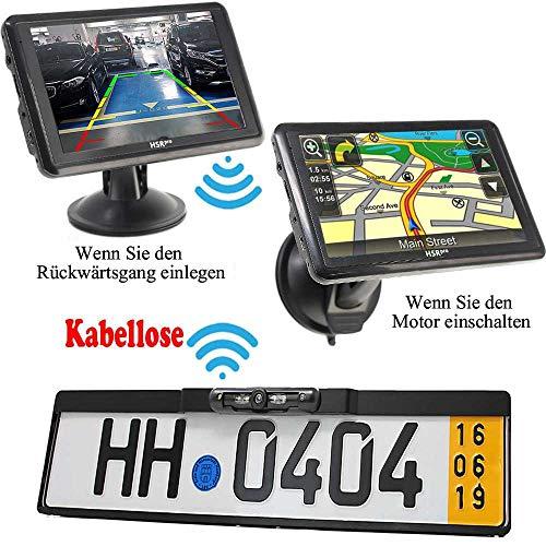"""HSRpro Kabellose Funk 5\"""" Touchscreen Navigationssystem + Autokennzeichen Rückfahrkamera Komplettset. Kamera Navigation für PKW Auto, Transporter, Wohnmobile & Bus"""