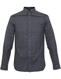 a62de2e02 FRED PERRY GRAPHITE MARL DISTORTED GINGHAM TWILL SHIRT