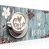 Bilder Küche Kaffee Wandbild 100 x 40 cm Vlies - Leinwand Bild XXL Format Wandbilder Wohnzimmer Wohnung Deko Kunstdrucke Blau 1 Teilig - MADE IN GERMANY - Fertig zum Aufhängen 020712c