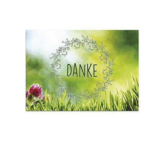 15 schöne Dankeskarten (Blumenwiese) mit 15 Umschlägen im Set - Danksagungskarten, Danke sagen nach Hochzeit, Geburt, Baby, Taufe, Geburtstag