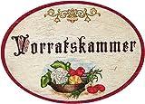 Kaltner Präsente Geschenkidee - Holz Türschild im Antik Design Motiv VORRATSKAMMER (Ø 18 cm)