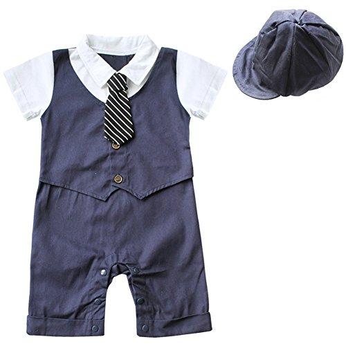 Freebily Baby Junge Smoking Strampler Gentleman Bodysuit Anzug Outfits Babyanzug Bekleidungssets mit Mütze Kleikind Festliche Kleidung für 6-18 Monate Marineblau 9-12 Monate