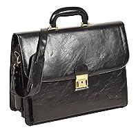 Mens Leather Look Briefcase Cross Body Shoulder Organiser Bag HOL7051 Black