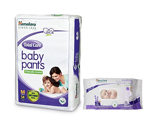 Himalaya Total Care Medium Size Baby Pants Diapers (54 Count) With Himalaya Baby Wipes 72 Pcs