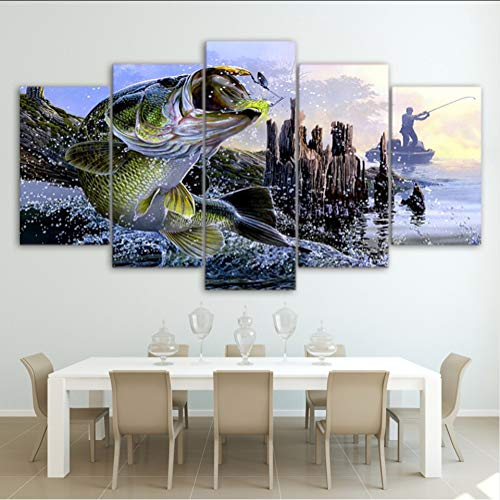 mmwin Mmwinlienzo Imágenes Hd-Produkte Mit Arte-Dekor-Dekor Zum Kauf Von 5 Unidades Forelle Bass Pesca Pinturas Peces Carteles Marco Arte-dekor