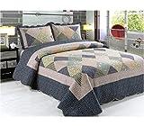 A-Express Patchwork patchworkdecke Tagesdecke Mit 2 Kissenbezüge Bettüberwurf Sofaüberwurf Überwurf Decke Gesteppt Steppdecke 230 x 250 cm