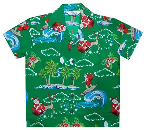 98152abf Alvish Hawaiian Shirts 41B Boys Christmas Santa Beach Aloha Party Camp  Green S