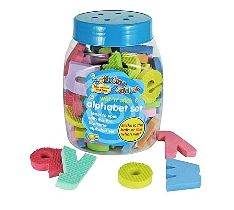 Bathtime Buddies alphabet foam letters set, wet, stick and play includes 65 letters and handy net storage