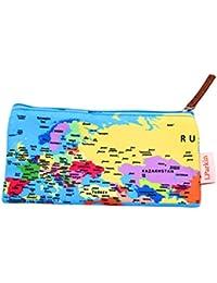 lparkin mundo mapa estuche estudiantes capacidad estuche de lona pluma bolso de la bolsa, color