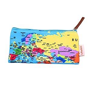 lparkin mundo mapa estuche estudiantes capacidad estuche de lona pluma bolso de la bolsa