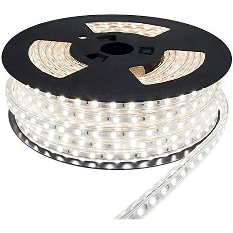 Viktion - 220V 10M impermeable cambiado Kit con 5050 SMD cinta LED tira flexible estanco escindible 600 LED - utilizar directamente, sin necesidad de adaptador, más conveniente (Blanco frío)