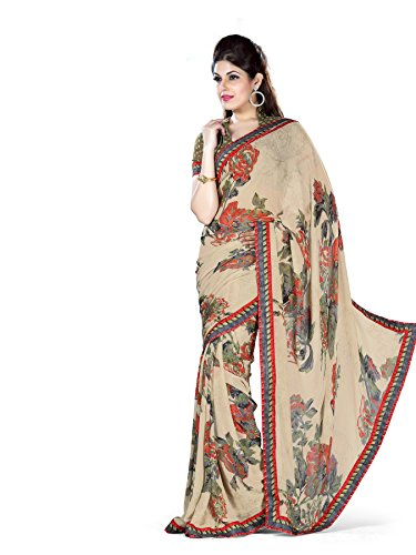 Florence Beige Chiffon Printed Saree with Blouse  available at amazon for Rs.616