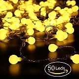 Catena Luminosa, REDU Luci Stringa Lampadina 5 metri, tipo sferico, impermeabile, 50 calde lampadine bianche, decorazioni natalizie, festival, interni, serre,terrazze all'aperto, ecc.