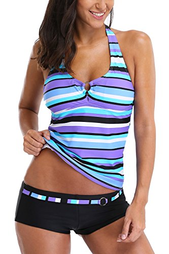 CharmLeaks Damen Bunt Badeanzug Softschalen Neckholder Figurumspielendes Tankini Mit Hotpants Regenbogen Serie Blau 3XL