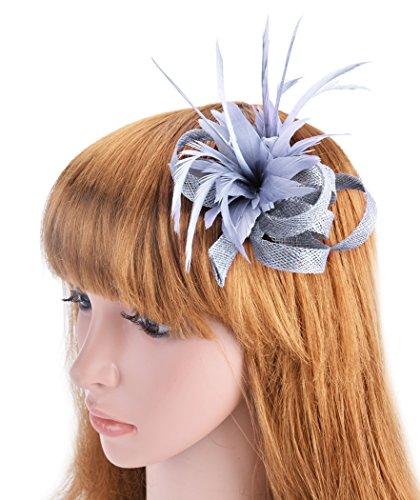 Fascigirl Feather Hair Clip Fascinator Women Bridal Brooch Pin for Wedding
