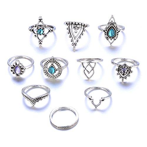 10 teile/satz Frauen Böhmischen Vintage Silber Stapel Ringe Über Knöchel Blau Set YunYoud modische ringe set damen schöne goldringe silberring schmal günstig armspange