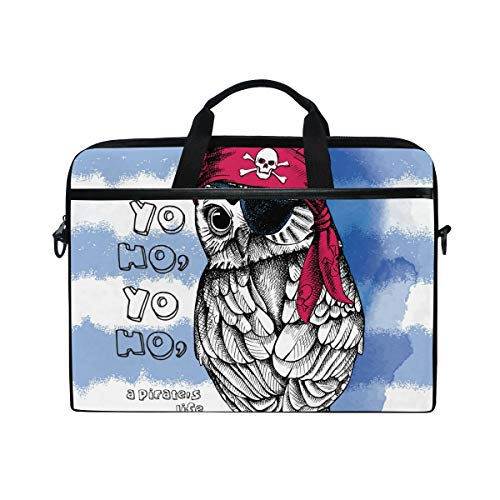 Hunihuni Piraten-Eule Laptop Schultertasche Messenger Bag Case mit Griff Strap für Herren Frauen Jungen Mädchen