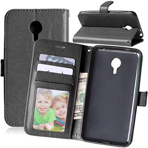 Meizu MX4 Tasche Schwarz + Kostenlos Syncwire Ladekabel, FUBAODA Leder Hülle, Flip Leder Money Karte Slot Brieftasche, Kartenfächer Ständerfunktion für Meizu MX4 (5.36 inch) (schwarz)