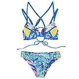 B-commerce 2 STÜCKE Bikini Set Frauen Schlauchoberteil Print Split Stitching Badeanzug Kreuz Geometrische Badeanzug Bikini Tropischer Bikini Für Sommer