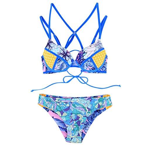 183cd04ad6a4 feiXIANG Bikini Brasiliana Donna Push Up Due Pezzi Costumi da BagnoVita  Alta Intero da Spiaggia Mare