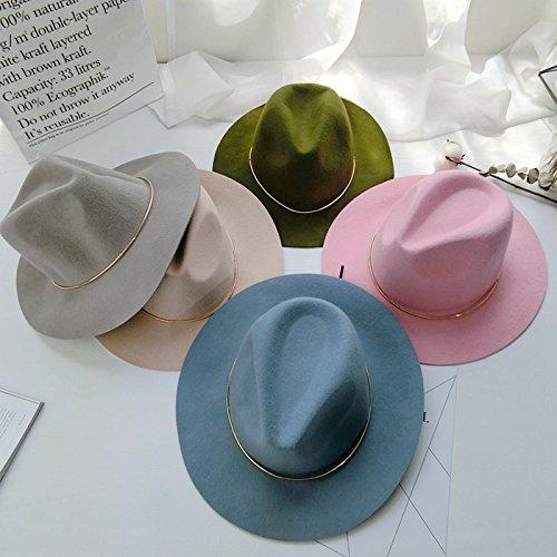 La comunidad británica anillo metálico color caramelo sombrero bruto toldos planas grandes ovejas sentí Jazz ola coreana femenina gorras sombreros , sombrilla ajustable , rosa