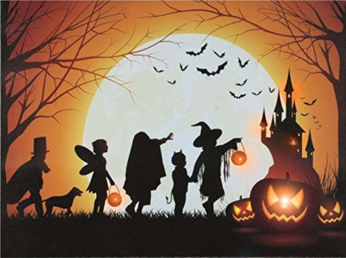 Premier Happy Halloween LED Trick or Treat Fairy Ghost Hexe Devil Haunted House Leinwandkunst batteriebetrieben