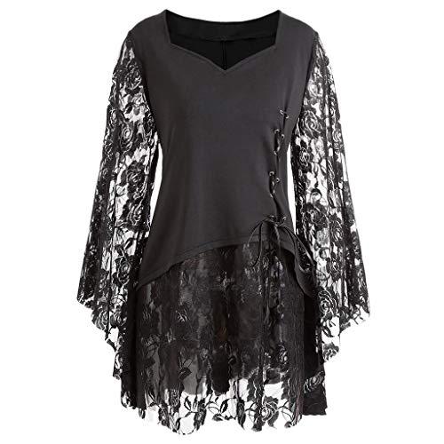 HCFKJ Kleider für Mollige Damen Sommer Grosse GröSsen Kleider Ärmel 3/4 Lang Lässige Kleidung Kleider für Frauen Gothic Steampunk Ausgestelltes Schnürkleid Plus Loose Dress (3XL = 44 EU, Schwarz)