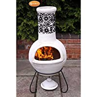 Traditional Flor Chimenea With Flower Relief Motives Design Round Funnel And With A Large Repeat Motive In The Middle Of The Back Of The Belly Complete With Metal Stand And Clay Lid No Assembly Required