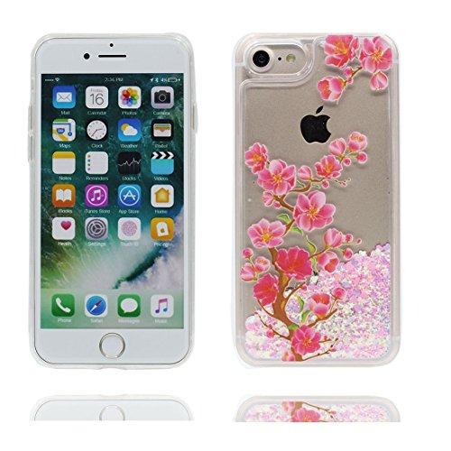 """iPhone 7 Coque, Multiflora Rose Skin Hard Clear étui iPhone 7, Design Glitter Bling Sparkles Shinny Flowing Apple iPhone 7 Case Cover 4.7"""", résistant aux chocs Fleur de pêche"""